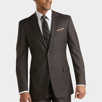 TOMMY HILFIGER CHARCOAL PLAID SLIM FIT SUIT