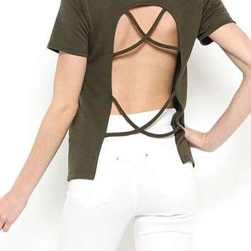Olive Backless Tee Shirt