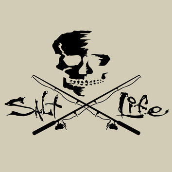 Salt Life Skull and Poles Large Decal