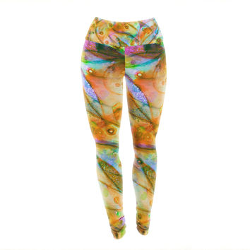 "Ebi Emporium ""Flourish - Yellow"" Orange Floral Yoga Leggings"