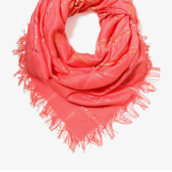 Embroidered Open Knit Scarf