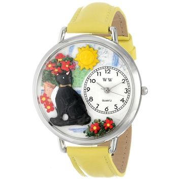 SheilaShrubs.com: Unisex Basking Cat Yellow Leather Watch U-0120010 by Whimsical Watches: Watches