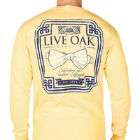 Bow Tie Emblem Long Sleeve Tee in Yellow by Live Oak