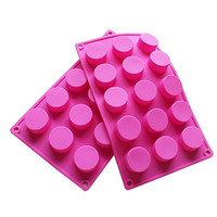 15 Holes Cylinder Silicone Mold For Handmade soap, jelly, Pudding, Cake Baking Tools, Set of 2
