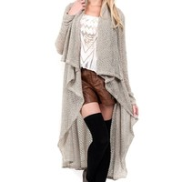 Fuzzy Taupe Long Sleeve Sweater Cardigan