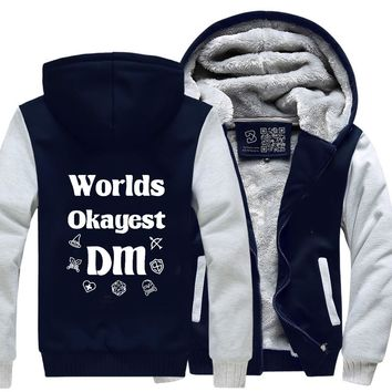 Worlds Okayest Dm, Dragon And Dungeon Fleece Jacket