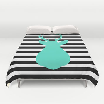 Blue Deer & Black and white stripes Duvet Cover by Allyson Johnson
