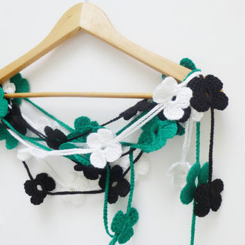 St Patrick Day,Crochet Scarf Accessories, Floral scarf , Lariat scarf, Handmade Neck accessory,2013 fashion