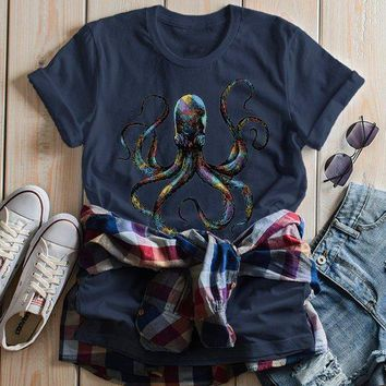 Women's Octopus T Shirt Hand Drawn Vintage Hipster Shirts Octopus Geometric Graphic Tee