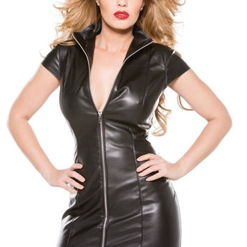 Faux Leather Dress with High Collar and Front Zip in M