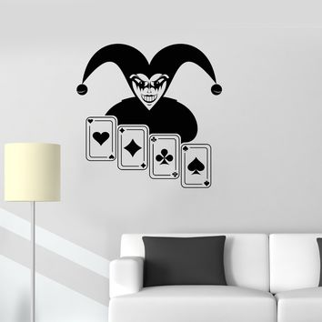 Vinyl Decal Joker Poker Card Casino Gambling Wildcard Wall Stickers Mural Unique Gift (ig2706)