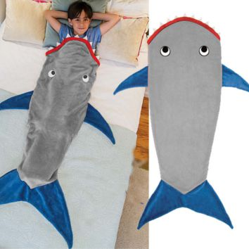 Shark blanket mermaid tail sleeping bag children sleeping bag flannel autumn and winter thick warm