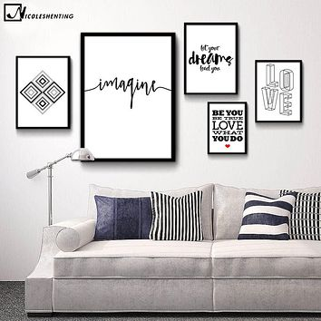 NICOLESHENTING Motivational Quote Minimalist Art Canvas Poster Abstract Painting Black White Wall Picture Modern Home Decoration