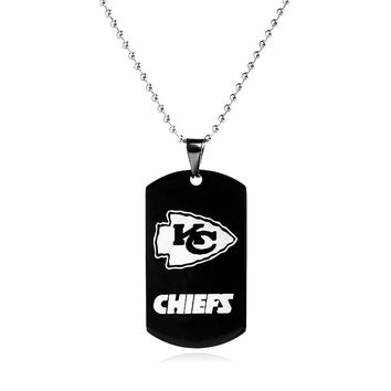 Kansas City Chiefs Sports Football Team Logo Necklace Pendants Men Black Stainless Steel Military Army Tags Cards Necklace Male
