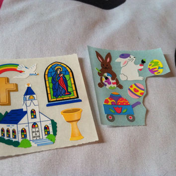 x2 Lot Sandylion Stickers Bunny Rabbits Easter Egg  Rainbow Paint Hearts Cute Kawaii Church Cross Virgin Mary