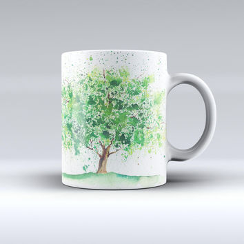 The Splattered Watercolor Tree of Life ink-Fuzed Ceramic Coffee Mug