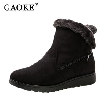 Shoes Woman Flat Ankle Snow Motorcycle Boots Female Suede Leather Rubber Winter Boots Women Warm Fur Plush  Women's Ankle Boots