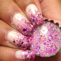 All Things Diva - Pink White Star Glitter Bomb Custom Handmade Indie Nail Polish