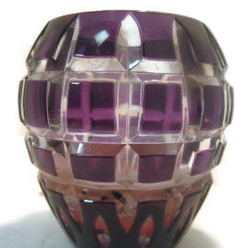 Amethyst Cut to Clear Votive Candle Holder Square Cut Checkerboard Design