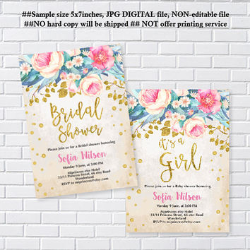 Floral Baby Shower Invitation OR Bridal Shower, invitation, gold and pink, it's a girl, baby shower, oh baby invitation  - card 1243