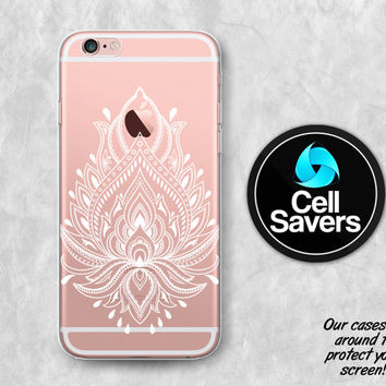 White Lotus Clear iPhone 6s Case iPhone 6 Case iPhone 6 Plus iPhone 6s Plus iPhone 5c iPhone 5 iPhone SE Flower Lotus Henna Tumblr Cute Line