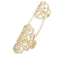 Gold Rhinestone Filigree Chained Statement Rings by Charlotte Russe