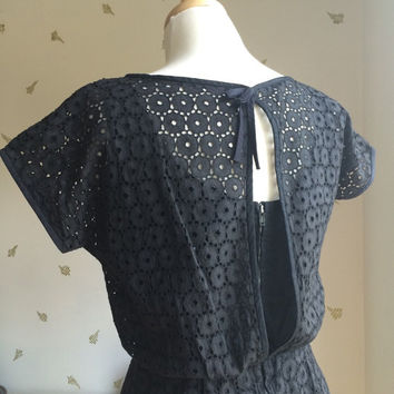 1960's Black Eyelet Lace Dress / Open Back / Broderie Angalise / Algo Originals / Vintage Early 60s