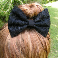 Black lace Hair Bow Clip, kids hair bows, Teens, women, Fabric Bows, hair bow, Bows for girls, black lace bow, lace bow, big lace bow