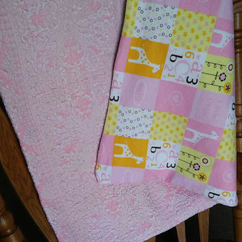 Antique Blanket, Baby Blanket, Vintage Blanket, Pink, Antique Quilt, Upcycled Quilt, Pink, Baby Shower Gift, Bedding, Giraffe, FREE SHIPPING