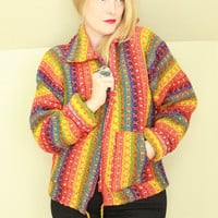90s - Bright - Rainbow Stripe - Chunky Knit - Zip Up - Collar - Cardigan Sweater - Hippie - Boho