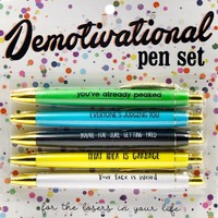 Demotivational Pen Set in Multicolors - You've Already Peaked, Everyone is Judging You...