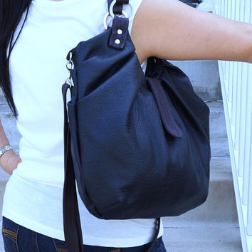 Black leather pleated satchel, Large leather convertible bag, versatile messenger and backpack purse