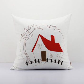 Halloween decor ornament haunted house pillow, Primitive decorative pillow,funny decor,witch house pillows autumn decor Cushion Cover