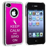 Apple iPhone 4 4S 4G Hot Pink S513 Rhinestone Crystal Bling Aluminum Plated Hard Case Cover Keep Calm and Sing On Microphone