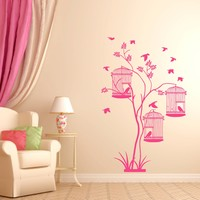 ik344 Wall Decal Sticker Decor wood bird cage kids bedroom