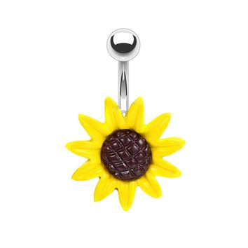BodyJ4You Belly Button Ring Big Stunning Sunflower 14G Piercing Jewelry