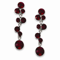 Silver-tone Red Crystal Post Dangle Earrings