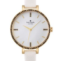 Women's kate spade new york 'metro' crystal bezel leather strap watch, 34mm - White/ Gold