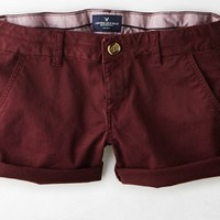 AEO Women's Twill Midi Short (Burgundy)