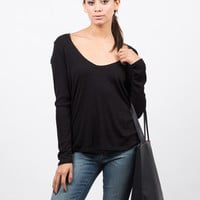 Plunging Long Sleeve Top