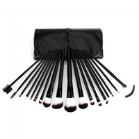18pcs Wooden Color Handle Professional Cosmetic Makeup Brush Set + Black Top Grade PU Cosmetic Bag - Default