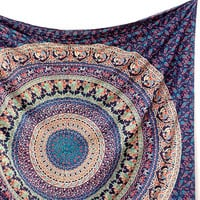 Handmade Cotton Fabric Elephant Mandala Tapestry Bedspread Bohemian Hippie Wall Hanging Throw Boho Ethnic Home Decor