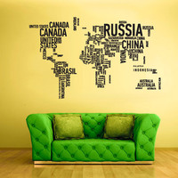 rvz1712 Wall Vinyl Sticker Bedroom Decal World Map Country Words Quotes