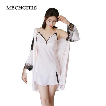 MECHCITI Women Robe Sets Sexy Bathrobe Faux Silk Nightgown Lace Floral Pajamas Strap Adjustable Sleepwear Nightwear Lingerie Set