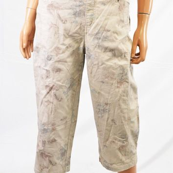 Style&co Women Stretch Beige Floral Mid Rise Tummy Control Capri Cropped Pant 12