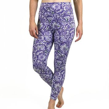 Sketched Daisy 7/8 Leggings - Purple