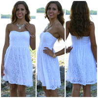 Enchantress White Strapless Lace Dress