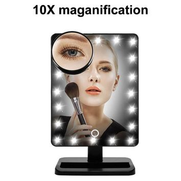 20 LED Lights Makeup Cosmetic Mirror 180 Degree Rotate Mirrors with Removable 10x Magnifying Mirrors TB Sale
