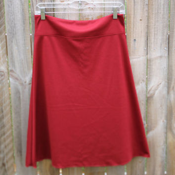Jersey Knit Skirt - Cranberry Red - Size Small