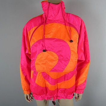 Vintage 80s Neon Ski Jacket size 8 New Wave Hot Pink and Orange Spiral 1980s Obermeyer Hooded Ski Party Coat Skiing Gore-Tex Parka Snowboard
